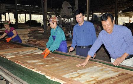 Lãnh đạo Phòng Lao động - Thương binh và Xã hội huyện Yên Bình và Công ty cổ phần Yên Thành kiểm tra sản xuất tại xưởng chế biến gỗ.