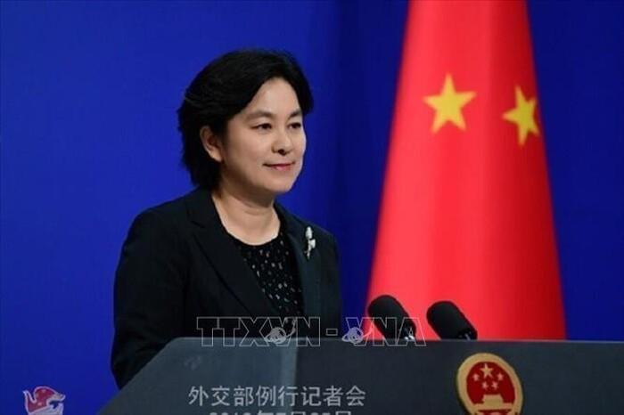 Người phát ngôn Bộ Ngoại giao Trung Quốc Hoa Xuân Doanh tại cuộc họp báo ở Bắc Kinh.