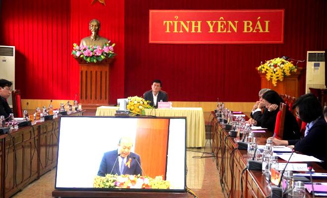 Quang cảnh Hội nghị tại điểm cầu Yên Bái.