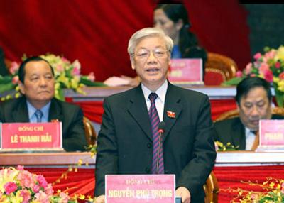 Đồng chí Nguyễn Phú Trọng được bầu làm Tổng Bí thư Ban chấp hành T.Ư Đảng khoá XI. (Ảnh TPO)
