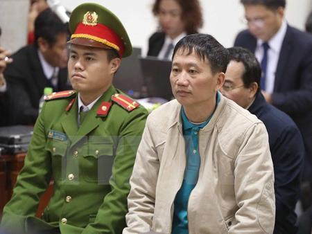 Bị cáo Trịnh Xuân Thanh và đồng phạm tại phiên tòa.