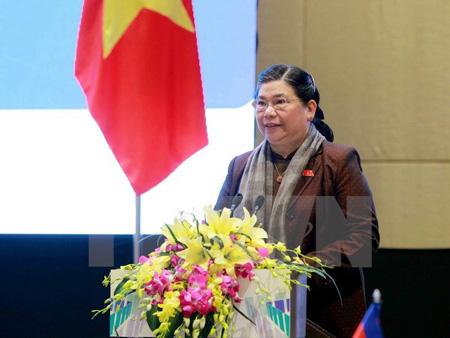 Phó Chủ tịch Thường trực Quốc hội Tòng Thị Phóng, Trưởng ban tổ chức APPF-26, phát biểu tại hội nghị.