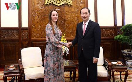 Chủ tịch nước Trần Đại Quang và bà Gabriela Cuevas Barron, Chủ tịch Liên minh Nghị viện Thế giới (IPU).