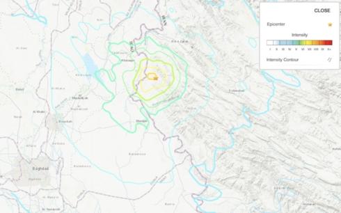 Trận động đất cách baghdad của Iraq 145 km về phía Tây Bắc.