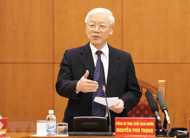 Tổng Bí thư, Chủ tịch nước Nguyễn Phú Trọng, Trưởng Tiểu ban Văn kiện phát biểu kết luận phiên họp.