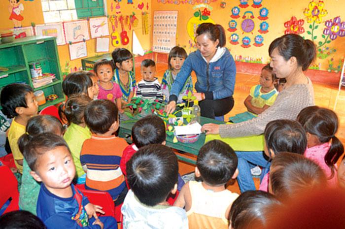 Điểm trường mầm non mở tại Làng Ca 1 có gần 40 trẻ.