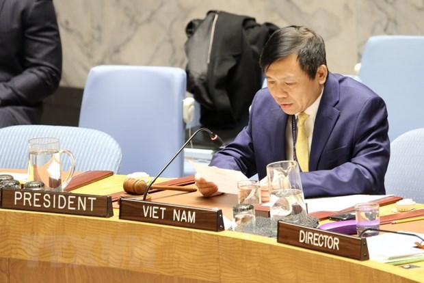Đại sứ Đặng Đình Quý, Trưởng phái đoàn đại diện thường trực Việt Nam tại LHQ phát biểu, chủ trì phiên họp HĐBA về đảm bảo thực thi hiệp định hòa bình ở Colombia sáng 13/1/2020.
