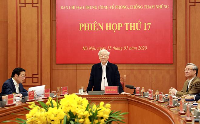 Tổng Bí thư, Chủ tịch nước Nguyễn Phú Trọng phát biểu kết luận phiên họp. Ảnh Ban Nội chính