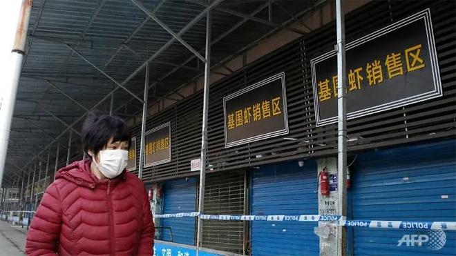 Chợ hải sản ở Vũ Hán, nơi được cho là nguồn gốc của dịch bệnh, đã đóng cửa.