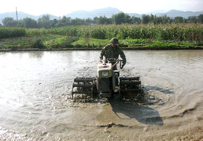Nông dân huyện Văn Yên khẩn trương làm đất gieo cấy lúa xuân.