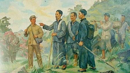 Bức tranh vẽ Bác Hồ về nước ngày 28/1/1941.