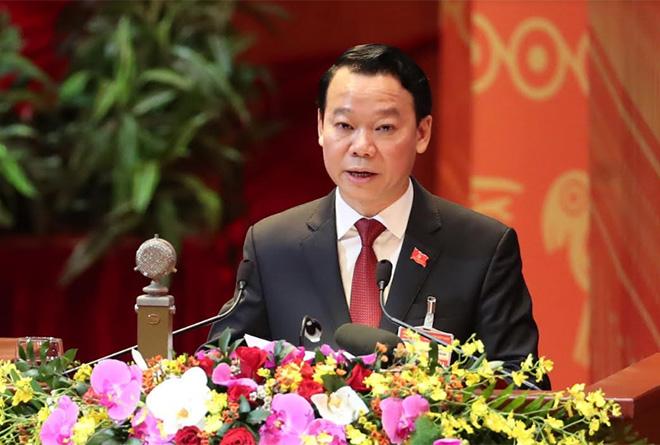 Đồng chí Đỗ Đức Duy - Bí thư Tỉnh ủy Yên Bái phát biểu tham luận tại Đại hội XIII của Đảng, sáng 28/1.