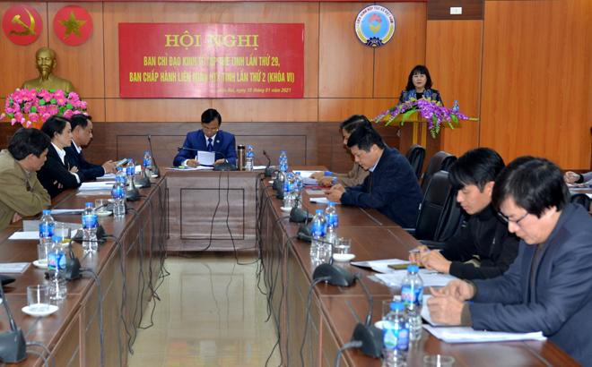 Đồng chí Hoàng Thị Thanh Bình – Phó Chủ tịch HĐND tỉnh phát biểu tại hội nghị.