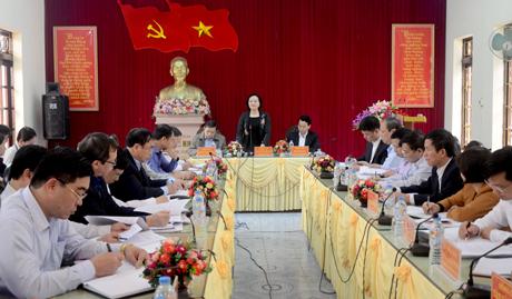 Đồng chí Phạm Thị Thanh Trà - Bí thư Tỉnh ủy, Chủ tịch HĐND tỉnh phát biểu tại buổi làm việc.