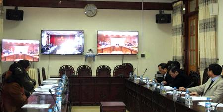 Quang cảnh Hội nghị trực tuyến tổng kết công tác CCHC năm 2017, triển khai phương hướng nhiệm vụ năm 2018 tại điểm cầu Yên Bái.