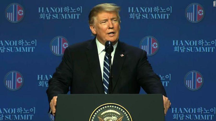 Tổng thống Mỹ Donald Trump trả lời tại buổi họp báo sau Hội nghị Thưởng đỉnh Mỹ-Triều lần 2.