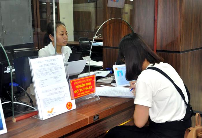Bộ phận giải quyết TTHC của Sở Tư pháp tại Trung tâm Phục vụ Hành chính công.