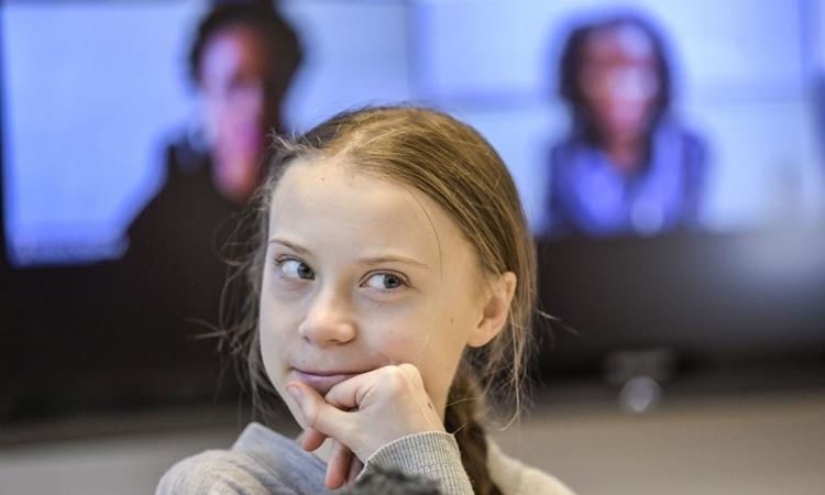 Greta Thunberg trong một cuộc họp báo ở Stockholm, Thụy Điển, ngày 31/1.