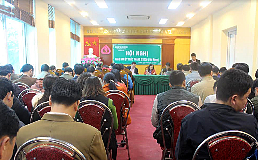 Quang cảnh Hội nghị tổng kết hoạt động cho vay vốn chính sách năm 2019 của Ban đại diện Hội đồng quản trị Ngân hàng Chính sách xã hội huyện Lục Yên.