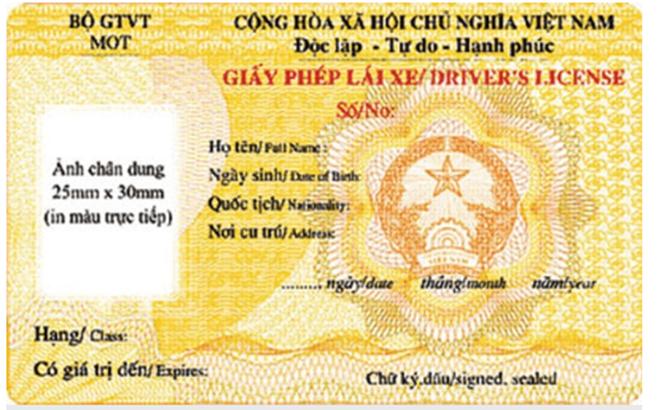 Giấy phép lái xe cấp theo mẫu mới từ ngày 1/6/2020.(Ảnh: Internet)