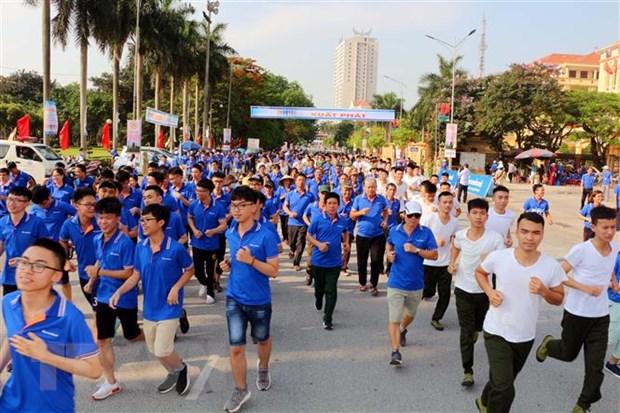 Cán bộ, chiến sỹ và người dân hưởng ứng Ngày chạy Olympic vì sức khỏe toàn dân tỉnh Hà Nam năm 2019.