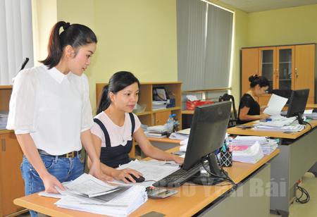 Cán bộ Đội Kê khai - Kế toán Thuế và Tin học, Chi cục Thuế thành phố Yên Bái trao đổi kinh nghiệm nghiệp vụ.