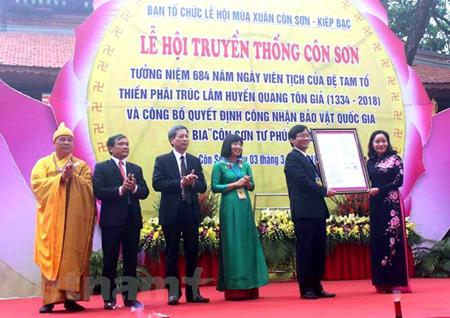Đón nhận quyết định của Thủ tướng Chính phủ công nhận bia Côn Sơn Tư Phúc Tự Bi là bảo vật quốc gia.