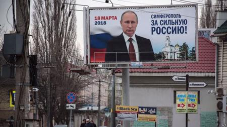 Hình ảnh Tổng thống Nga Putin ở Simferopol, Crimea, ngày 9/3.