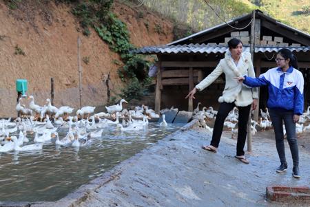 Chị Lý Thị Thiêm (bên trái) cùng cán bộ Huyện đoàn Mù Cang Chải thăm mô hình chăn nuôi của đoàn viên Sùng A Páo ở Chi đoàn Đề Sủa, xã Lao Chải.