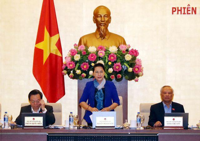 Chủ tịch Quốc hội Nguyễn Thị Kim Ngân phát biểu khai mạc Phiên họp thứ 31 của Ủy ban Thường vụ Quốc hội khóa XIV ngày 21/2/2019.