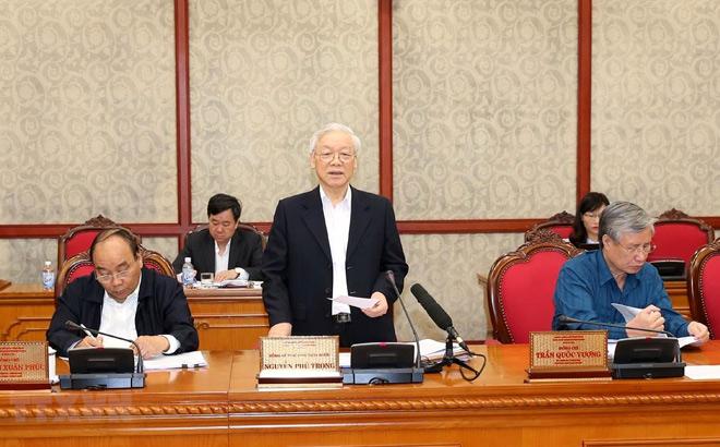 Tổng Bí thư, Chủ tịch nước Nguyễn Phú Trọng phát biểu tại cuộc họp.