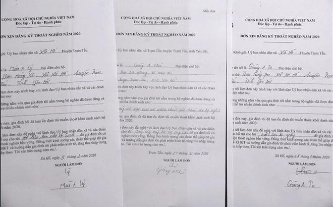 Những lá đơn xin đăng ký thoát nghèo ở huyện Trạm Tấu.