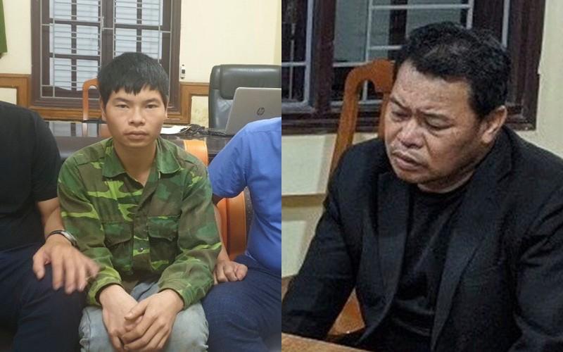 Nghi phạm Đào Danh Việt (bên phải) và Lò Văn Hà tại cơ quan công an.