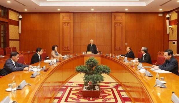 Tổng Bí thư, Chủ tịch nước Nguyễn Phú Trọng, Trưởng Tiểu ban Nhân sự Đại hội XIII của Đảng phát biểu chỉ đạo cuộc họp.