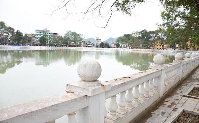 Một góc công trình cải tạo, nâng cấp bờ hồ thị trấn Yên Thế, huyện Lục Yên.