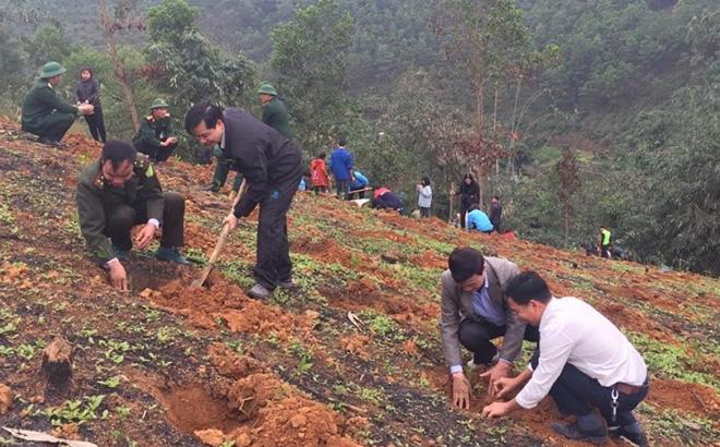 Nhân dân xã Đại Đồng ra quân trồng rừng vụ xuân năm 2020.
