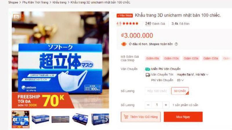 Khẩu trang 3D được đăng bán với giá quá cao.