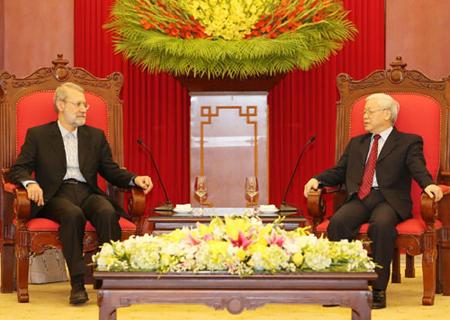 Tổng Bí thư Nguyễn Phú Trọng tiếp Chủ tịch Quốc hội Iran Ali Ardeshir Larijani.