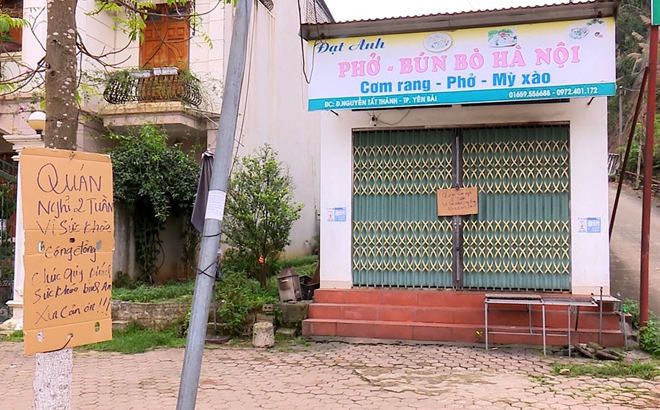 Các nhà hàng ăn uống ở Yên Bái đã dừng hoạt động sau khi có Chỉ thị 16 của Thủ tướng Chính phủ và của tỉnh .