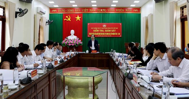 Ban Thường trực Ủy ban Trung ương MTTQ Việt Nam kiểm tra, giám sát  công tác bầu đại biểu Quốc hội khóa XV và đại biểu HĐND các cấp nhiệm kỳ 2021- 2026 tại huyện Trấn Yên