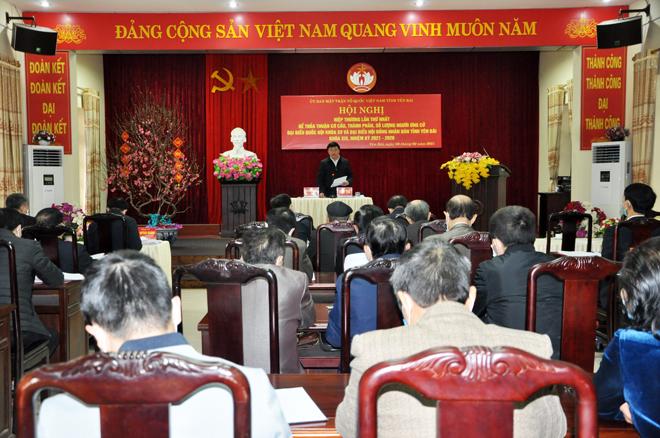 Ủy ban Mặt trận Tổ quốc Việt Nam tỉnh Yên Bái tổ chức Hội nghị hiệp thương lần 2, lựa chọn lập danh sách sơ bộ những người ứng cử đại biểu Quốc hội khóa XV và đại biểu HĐND các cấp nhiệm kỳ 2021 - 2026.
