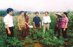 Các đồng chí lãnh đạo huyện Văn Yên (Yên Bái) về thăm nơi bộ đội ta vượt sông tham gia chiến dichh Sông Thao.
