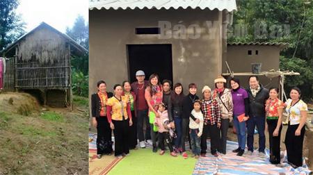 Nơi ở của mẹ con em Vàng Thị Hiền trước và sau khi được Kết nối trẻ hỗ trợ xây dựng.