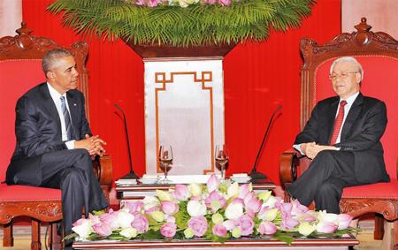 Tổng Bí thư Nguyễn Phú Trọng tiếp Tổng thống B. Ô-ba-ma