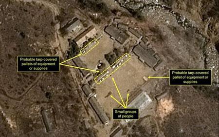 Hình chụp vệ tinh bãi thử Punggye-ri.
