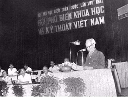 Chủ tịch Hồ Chí Minh phát biểu tại Đại hội đại biểu toàn quốc lần thứ I Hội Phổ biến khoa học, kỹ thuật Việt Nam ngày 18/5/1963.