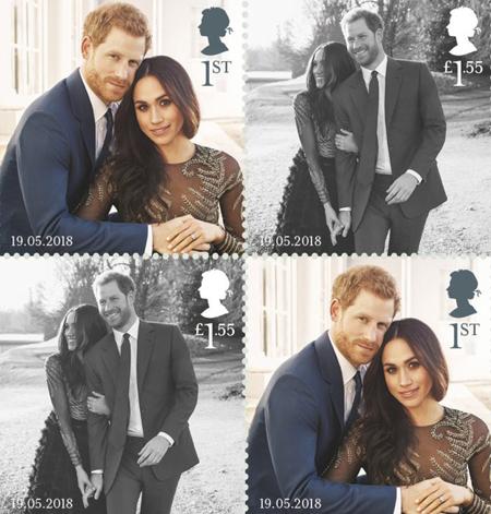Bộ tem đặc biệt chào mừng đám cưới giữa Hoàng tử Anh Harry và nữ diễn viên người Mỹ Meghan Markle.