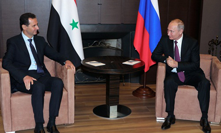Tổng thống Syria Assad (trái) và Tổng thống Nga Putin trong cuộc họp ngày 17/5 tại thành phố Sochi.