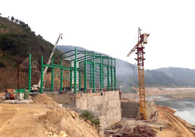 Công trình thủy điện Đồng Sung đang được đẩy nhanh tiến độ thi công.