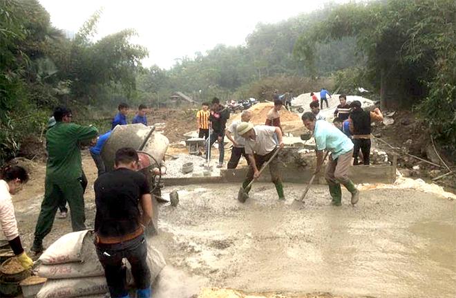 Công trình làm cống suối vào thôn Lũng Đẩy hoàn thành sau 15 ngày thi công.